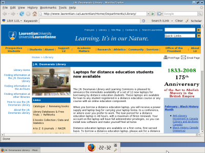 Screen shot of the Laurentian Library Linux Live CD in action