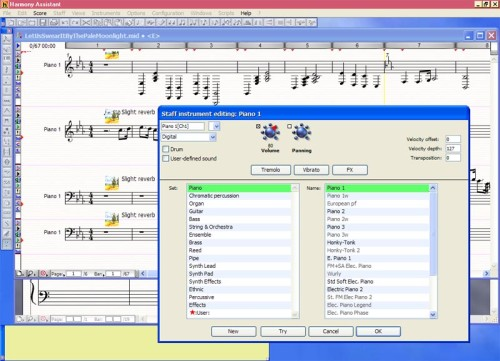 Changing the instrumentation in Harmony Assistant