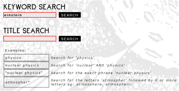 Keyword and title search page showing sample searches