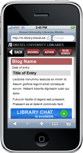 Finalized design mockups for mobile-optimized Blogs