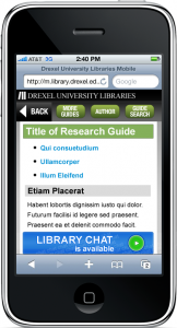 Finalized design mockups for mobile-optimized Research Guides