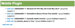 Mobile Plugin device detection rules configuration screen