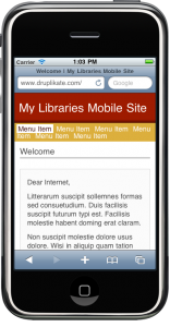 Unaltered Nokia Mobile theme on a sample site