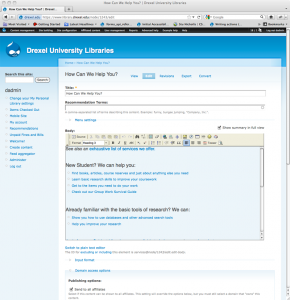Figure 12: Administrative theme in use on a page administration screen in Drupal
