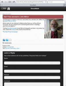 Tablet-optimized WordPress blog homepage and single post