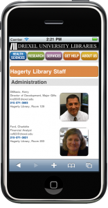 Figure 24: Full browser version of the Drupal-powered Hagerty Library staff page