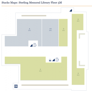 Figure 1. Floor 5M in Sterling Memorial Library showing very large blocks of call number ranges. The plus sign (+) indicates oversize.