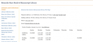 Figure 3. The page linked for call numbers of items in the Beinecke Rare Book & Manuscript Library, a library without open stacks and no associated stack maps.