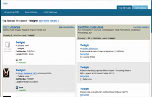Figure 5: DRAFT INTERFACE Initial search results through VuFind are separated into print results (left) and electronic results (right).