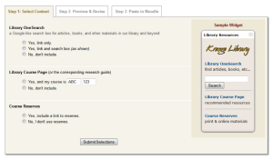 Figure 1: Library Widget Interface – Step 1 allows for initial content selection.