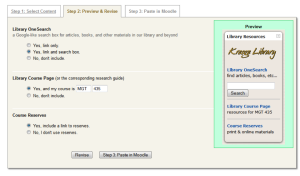Figure 2: Library Widget Interface – Step 2 allows for a functional, live preview of the resulting widget and for a revision in content selections.