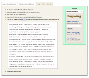Figure 3: Library Widget Interface – Step 3 offers directions on how and where to paste the resulting HTML code in Moodle.